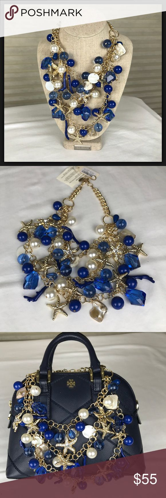 "NWT Nautical Statement Necklace Blue w/Charms NWT Nautical Statement Necklace that is loaded with beachy charms such as starfish, shells, beach glass, coral and faux pearls. You will be the ""star"" in this necklace for sure! This is a stunner and would pair well with a bikini, daywear, or out for the evening! Fab with a strapless dress and very ""Palm Beach""!! Careful with direct sunscreen lotion or perfumes! Wipe w/ clean cloth. Amrita Singh Jewelry Necklaces"