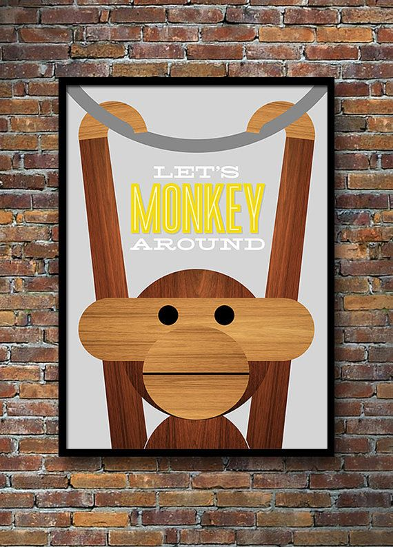 My 'Let's Monkey Around' print in yellow and grey is now available in a larger 50 x 70 cm size. Retro poster, Danish design, Kay Bojesen monkey, Mid Century Modern, Yumalum