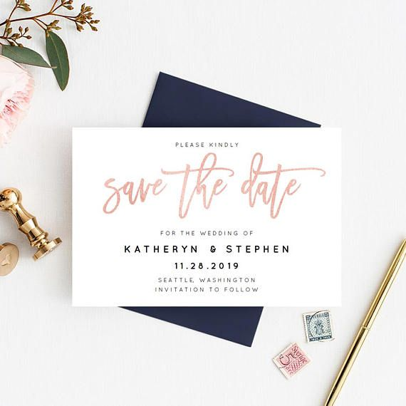 Printable Card Spring Save-the-Date Editable Save the Date Template Fresh Spring Save-the-Date 4x6in Wedding Save the Date