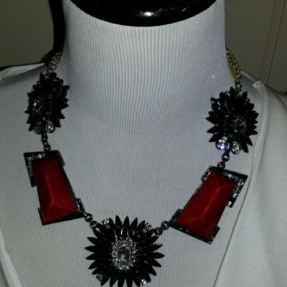 Amrita Singh black Statement Necklace This was purchased directly from Amrita Singh and will come boxed as well as with a jewelry savk. This necklace is meant to hang as shown and has a short extender. gold-tone chains in back. Amrita Singh Jewelry Necklaces