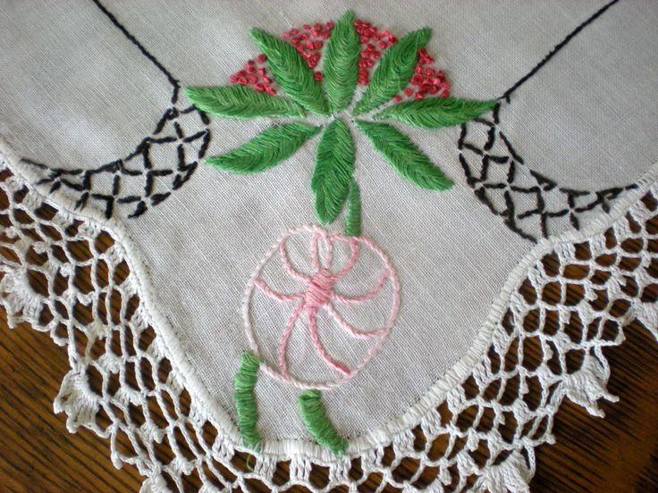 Centerpiece Display Embroidered Crocheted Table Decor Dresser Scarf Hand Cloth In Pink Green Black