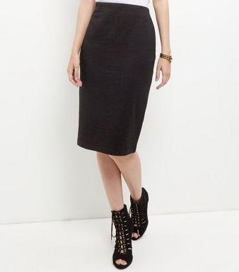 Black Textured Pencil Skirt    New Look