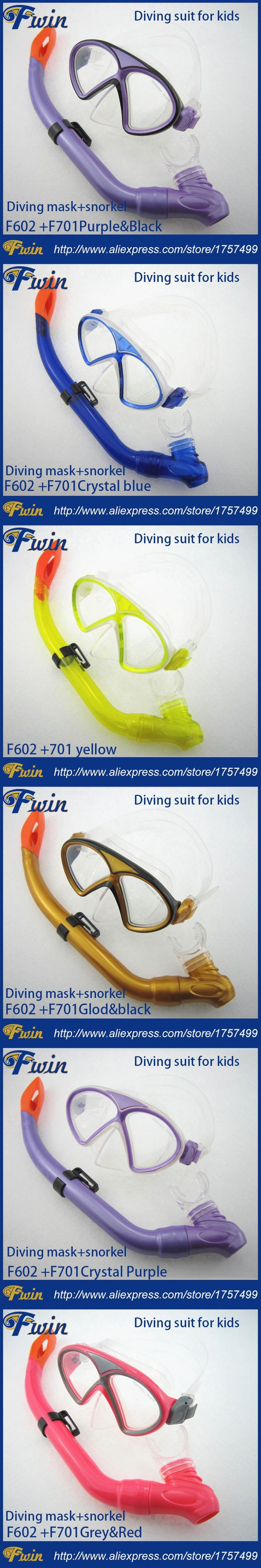 High Quality scuba Diving Goggles and a breathing tube Glass kids Diving Mask And Snorkel Set
