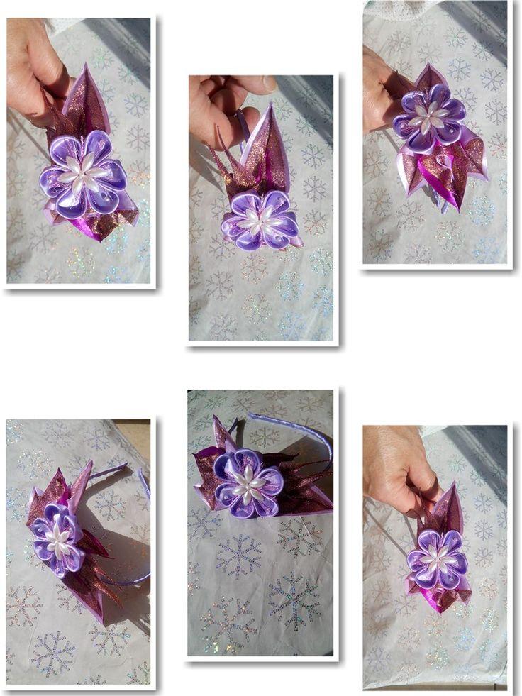 пластиковый обруч, бусины, цветок из лент сатин и органза 5 и 2,5 см.