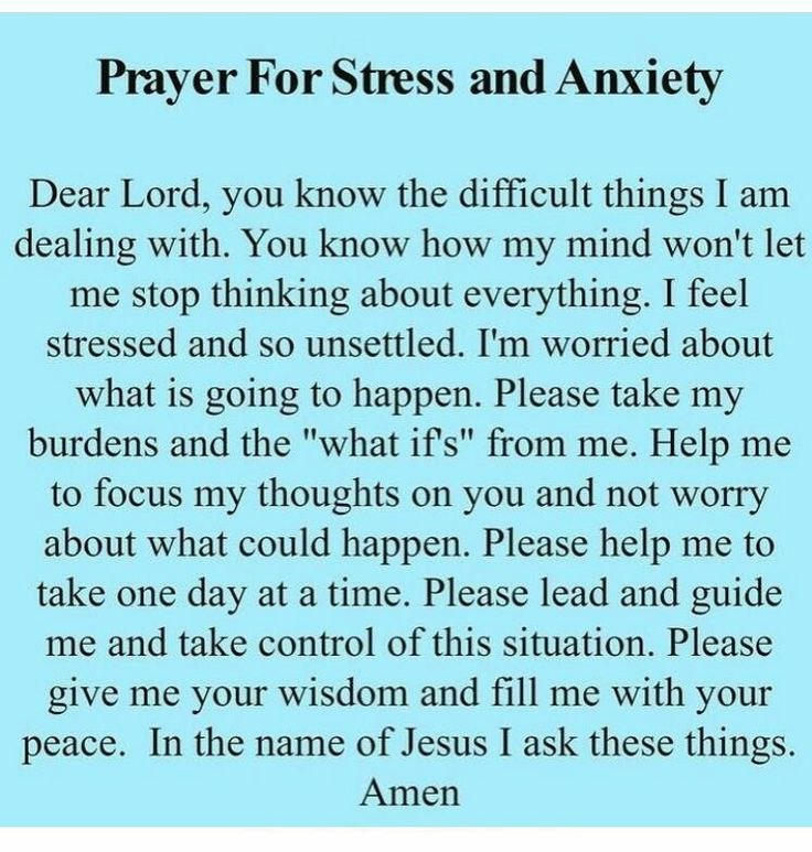 Times of stress and anxiety