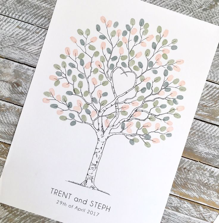 Unity Tree Fingerprint tree. Alternative guest book. A2 size. Perfect symbol of Love and unity for weddings, enagagements, Family trees, christenings etc.