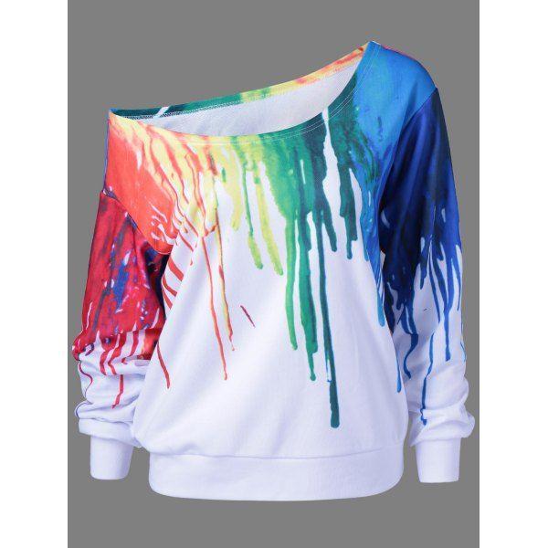 Paint Drip Skew Collar Sweatshirt, WHITE, XL in Sweatshirts & Hoodies | DressLily.com