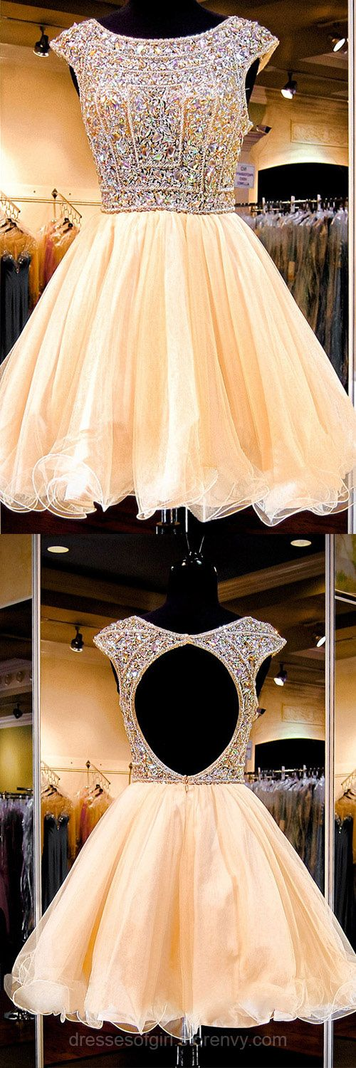 Sexy Open Back Princess Homecoming Dresses, Cap Sleeve Boat Neck Short Prom Dresses, Sparkly Crystal Sequined Tulle Prom Dresses