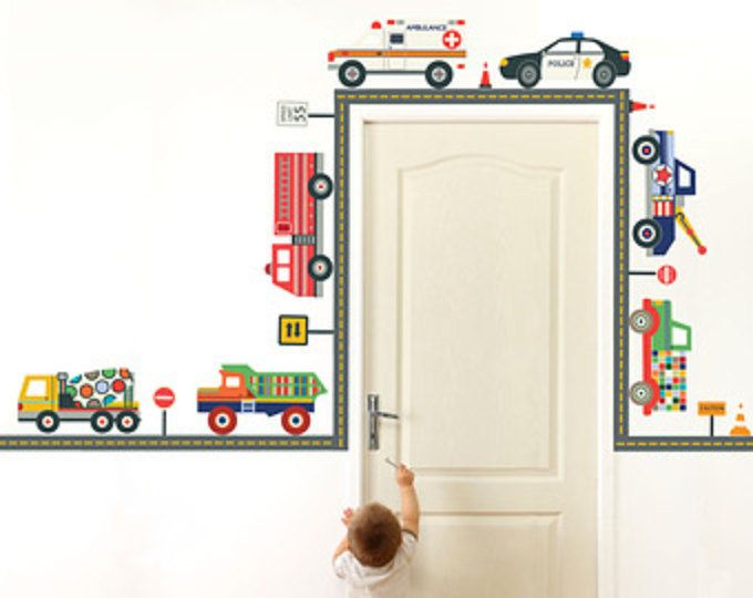 Emergency Vehicles & Terrific Trucks Wall Decals with Straight Gray Road, Repositionable Peel and Stick Eco-Friendly Wall Stickers