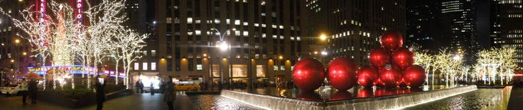 Panoramic photographs are fun to take, particularly when there is so much going on in the frame. here we are in front of the Radio City Music Hall - Christmas in New York City in full swing.