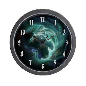 Luminous Galaxy Wall Clock from cafepress store: AGPaintedBrushT-Shirts. #clock #galaxy #space