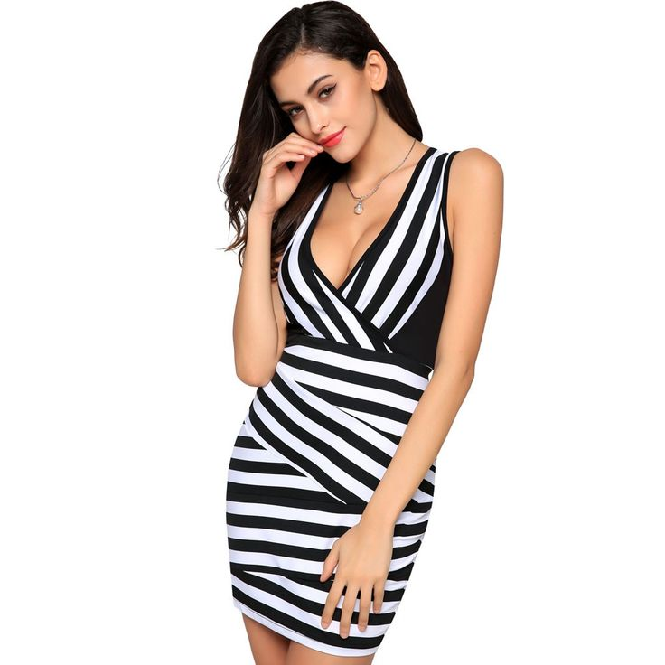 Cheap mini dress, Buy Quality patchwork dress directly from China dress  black and white Suppliers: Women Sexy V-Neck Sheath Mini Dresses Black and  White ...