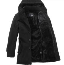hombres abrigo de lana largo grueso cálida lana de ocio de moda para hombre cazadora de lana con capucha trench más el tamaño S-XXXXL