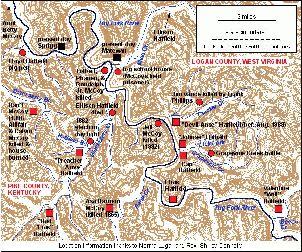 Map Of Important Hatfield Mccoy Events With Images Hatfields