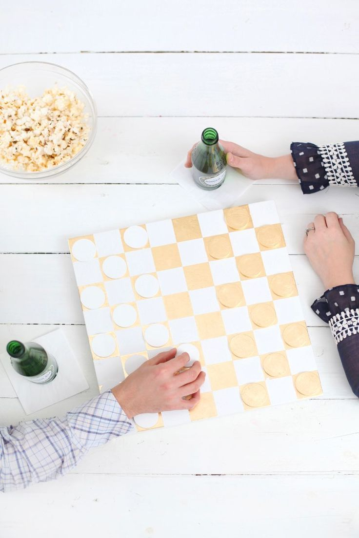 DIY: gold leaf checkerboard
