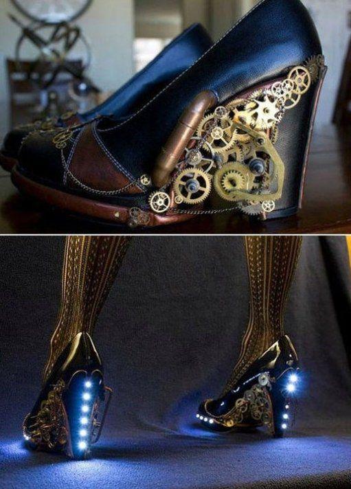Steampunk Heels: Steampunk Shoes, Trav'Lin Lights, Steampunk Heels, Steam Punk, Doctors Who, Blue Shoes, High Heels, Lights Up Shoes, Steampunksho
