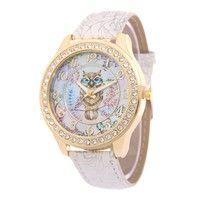 Fashion Cute owl Cartoon Casual Quartz Watch Women leather Watches Dress rhinestone Wristwatches Th