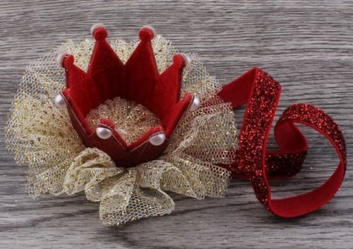 5 colores recién nacido Mini Fieltro Crown + Brillo Diadema Elástica para el pelo niñas