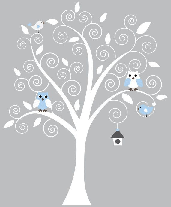 possible nursery decal with a blue owl bird for baby boy and a pink owl