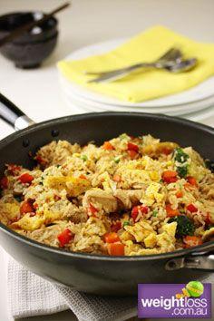 Honey Chicken with Vegtables & Rice. #HealthyRecipes #StirFryRecipes #WeightLoss #WeightlossRecipes weightloss.com.au