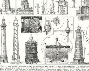 1949 Vintage lighthouse decor Lighthouse art Lighthouse illustration Lighthouse gifts Lighthouse prints Coastal decor Nautical decor Beach