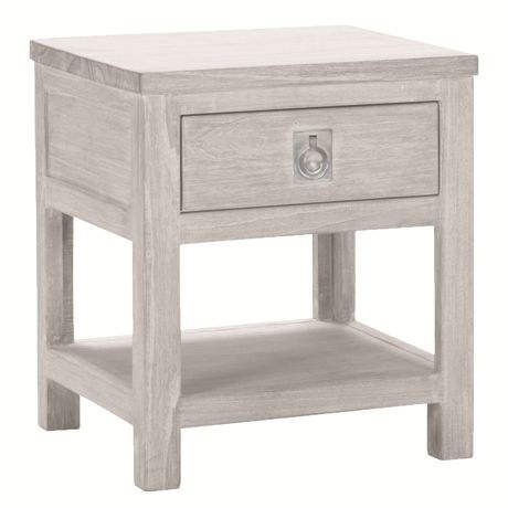 Cancun 1 Drawer Bedside Table  White Wash 48x48x55H