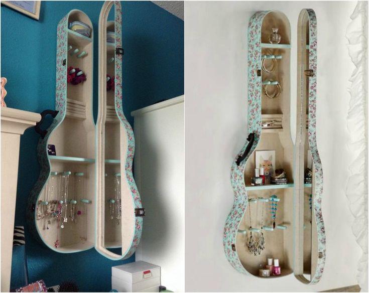 Ideen für Jugendzimmer - Schmuckaufbewahrung in Gitarrenkoffer