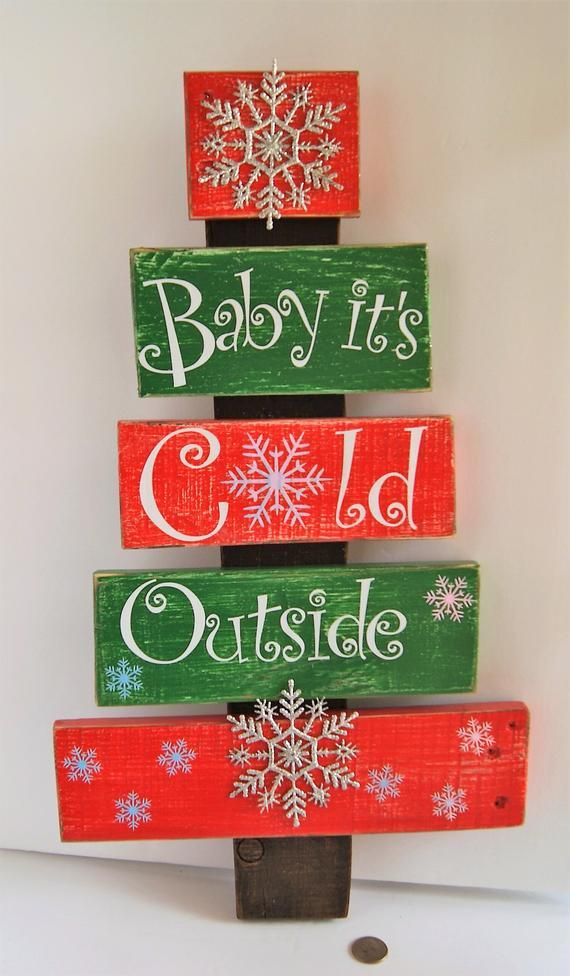 Handmade Pallet Wood Christmas Tree Baby It S Cold Outside Sparkling Snowflakes Winter Holiday Decor With Images Christmas Diy Pallet Pallet Christmas Tree