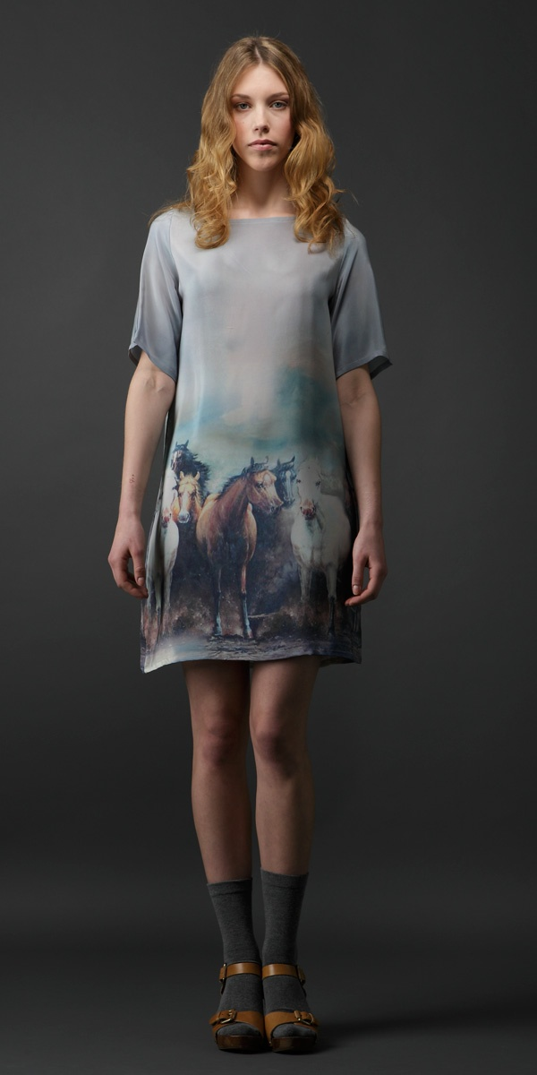 Stallion relaunch special! Use code stall762pint to get 15% off the range on our website ($285 for this Sophia silk dress). Find it at http://www.milkfromathistle.com/collections/stallion-print. This Pinterest special is available for July '12 only
