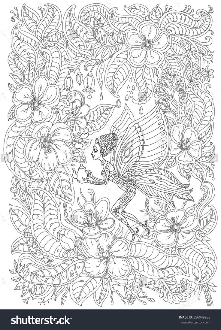 Ra rapunzel coloring pictures - Fantasy Butterfly Pixie With Teapot In Blooming Garden Adult Coloring Page