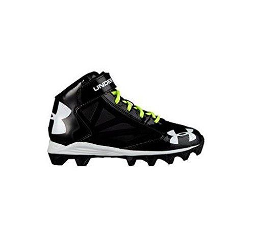 Boys Under Armour Crusher Mid Jr Football Cleat Black/Black Size 5 M US. UA custom laces match back to your team uniform 5 colors included with each pair. Power strap locks the foot in and provides excellent support and stability. Combination of perforated and patent synthetic upper is all about durability and ventilation. Die-cut EVA footbed provides excellent cushion and durability for all-game comfort. Rubber molded outsole provides aggressive traction without weighing you down.
