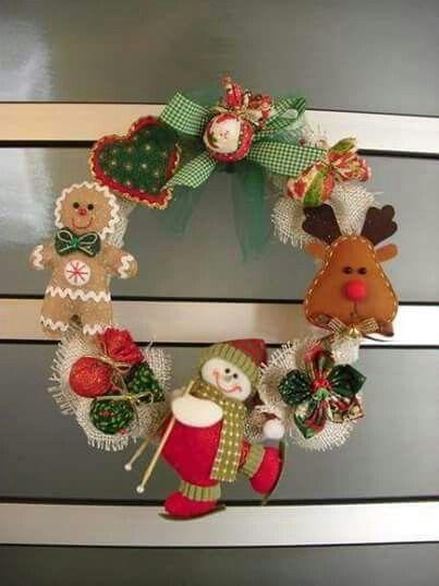 17 mejores im genes sobre coronas en tela y pa o lency en for Buscar adornos de navidad
