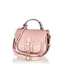 Pink leather snake satchel