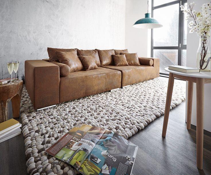 DELIFE Big Sofa Marbeya 285x115 Braun Antik Optik Mit 10 Kissen Sofas 9628