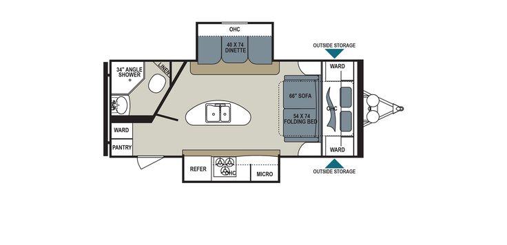 Dutchmen's Aerolite 218RBSL Floorplan Length 25' 2''. Murphy bed (queen). #traveltrailer