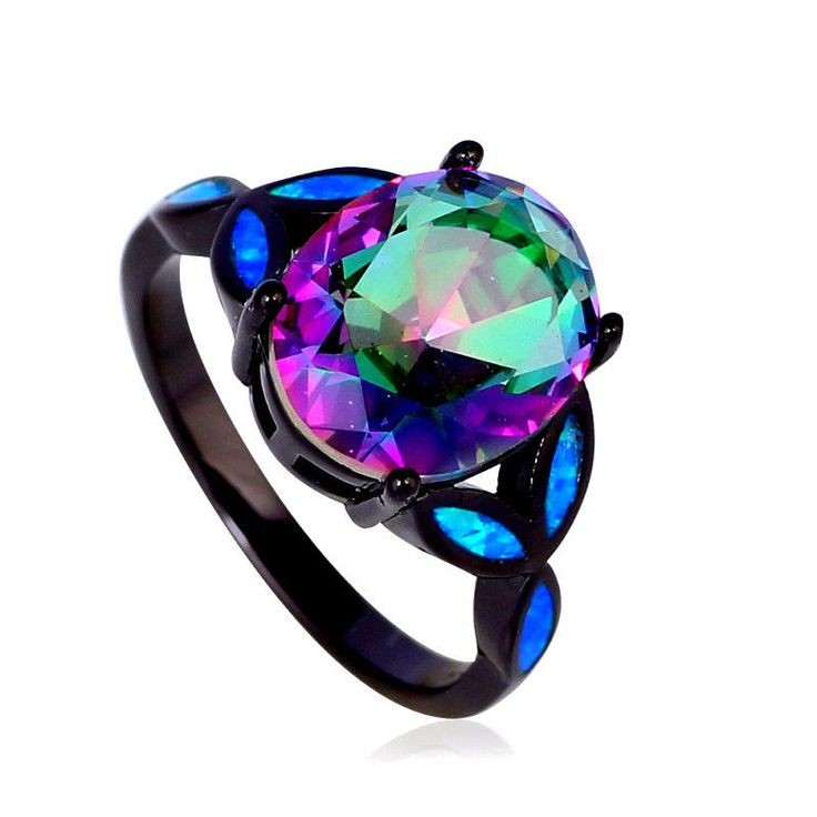 woman white rainbow trendy mystic popular fire engagement cut topaz opal princess rings youth vintage