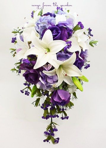 This cascade bouquet of purple Real Touch roses, Real Touch white Asiatic lilies, lavender silk hydrangea, silk white and purple filler flowers create a lovely custom real touch flower bridal...@ artfire
