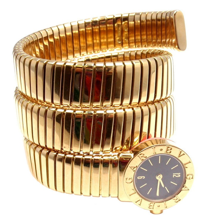 bulgari ladyu0027s yellow gold tubogas snake watch