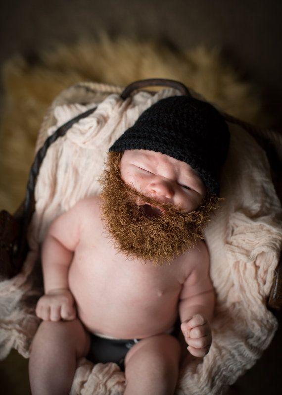 Handarbeit gehäkelte Bart Hut, Bart Mütze. Schwarzer Hut mit leichten braunen Bart, Bart, Hut, Männer Bart Hut