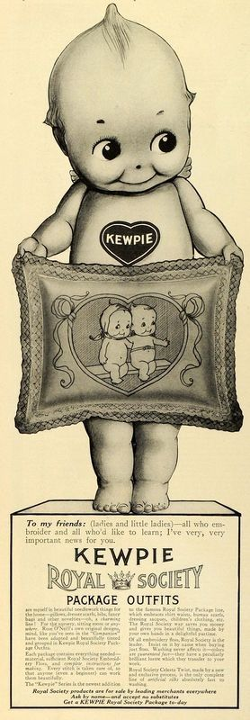 Advertisement for Rose O'Neill-designed Kewpie embroidery, sold by the Kewpie Royal Society, United States, date unknown, by Rose O'Neill.