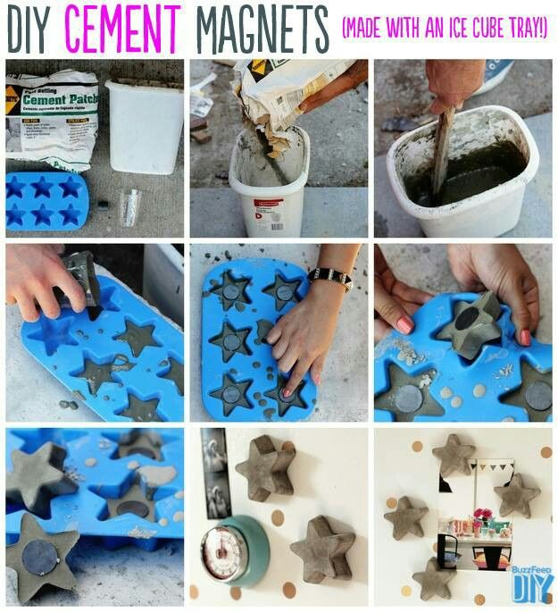 Cement magnets or candle holders