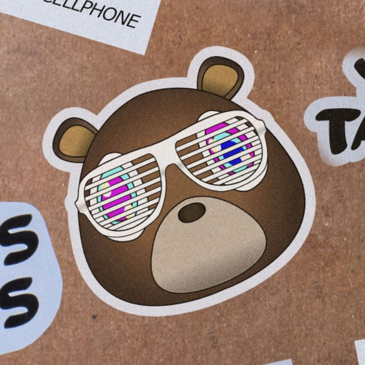 Kanye West Sticker - Graduation Era Bear With Glasses