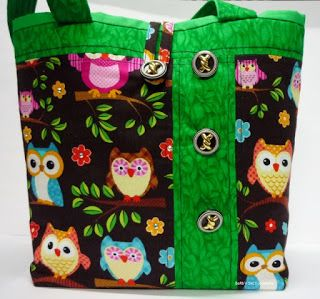 BaRb'n'ShEll Creations-Green trim Owl tote - BaRb