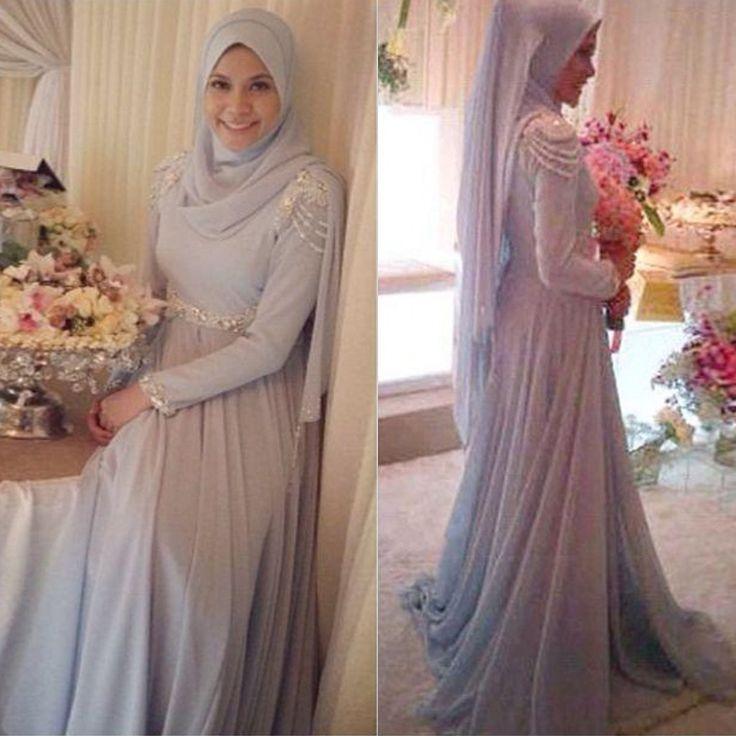 2015 élégante en mousseline de soie Hijab manches longues musulmane robe de soirée Style arabe dubaï robe formelle avec perles de cristal robes de soirée dans Robes de soirée de Mariages et événements sur AliExpress.com   Alibaba Group