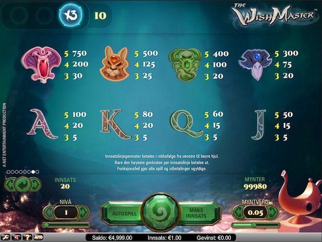 Spill The Wishmaster spilleautomat på Unibet Kasino