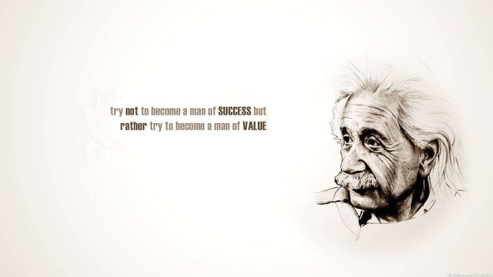 Albert Einstein cool picture quote about success and personal value.