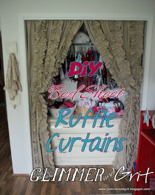 Glimmer & Grit: DIY Bed Sheet Ruffle Curtains