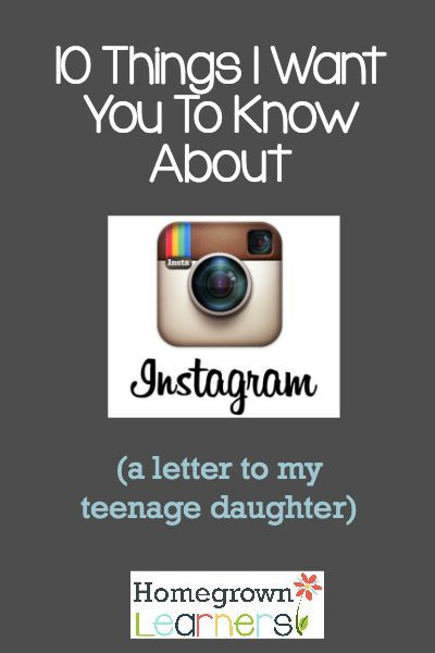 This is such a great encouragement for our teenagers using social media! http://www.homegrownlearners.com/home/10-things-i-want-you-to-know-about-instagram-a-letter-to-my-teenage-daughter?utm_content=buffer80ee8&utm_medium=social&utm_source=pinterest.com&utm_campaign=buffer via Homegrown Learners
