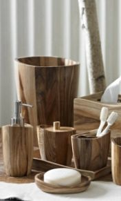 Acacia Wood Accessories - Bring rustic elegance to your #bathroom with this accessory set.