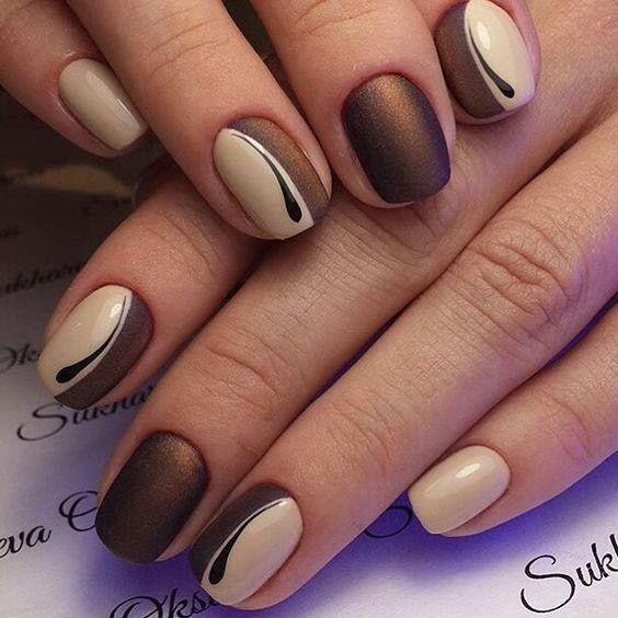 Brown tan nail design